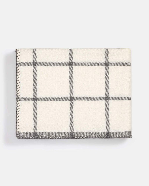 Graydon Alpaca Throw in Ivory and Light Grey by Alicia Adams