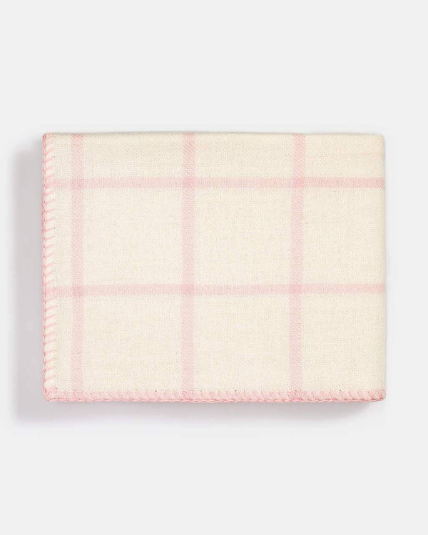 Graydon Alpaca Throw in Ivory and Light Pink by Alicia Adams