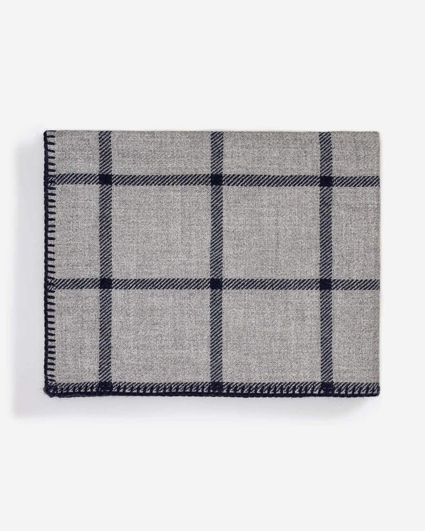Graydon Alpaca Throw in Light Grey and Navy by Alicia Adams
