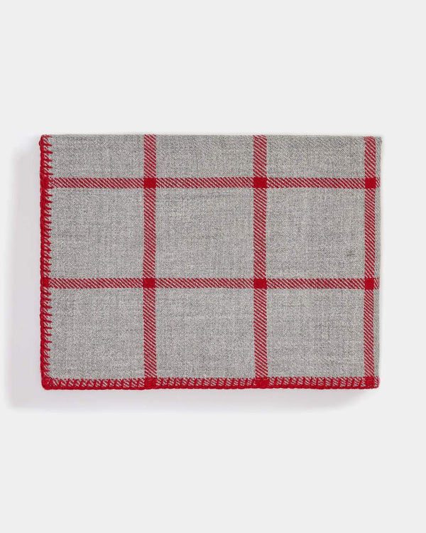 Graydon Alpaca Throw in Light Grey and Scarlet by Alicia Adams