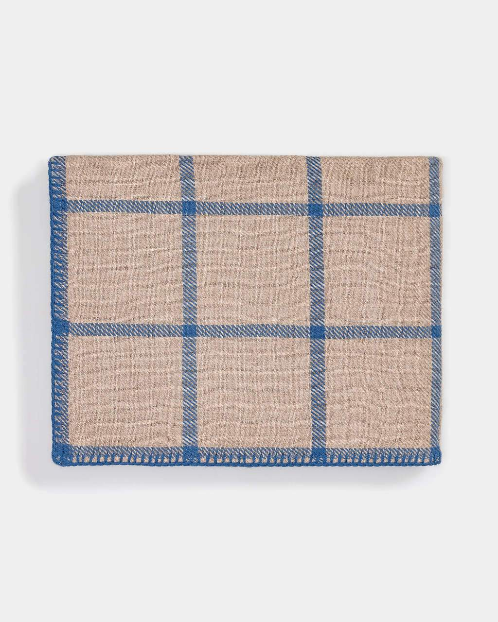 Graydon Alpaca Throw in Light Taupe and Blue by Alicia Adams