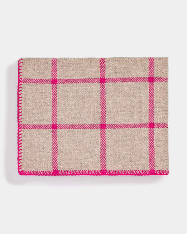 Graydon Alpaca Throw in Light Taupe and Fuchsia by Alicia Adams
