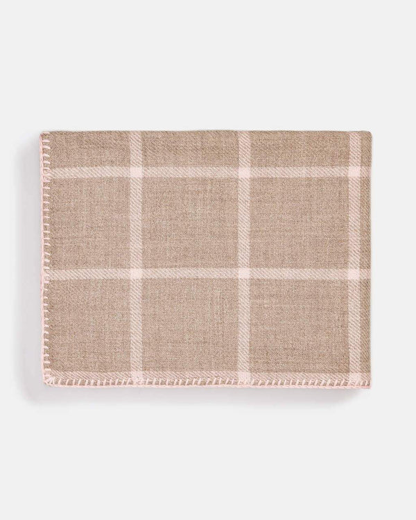 Graydon Alpaca Throw in Light Taupe and Light Pink by Alicia Adams