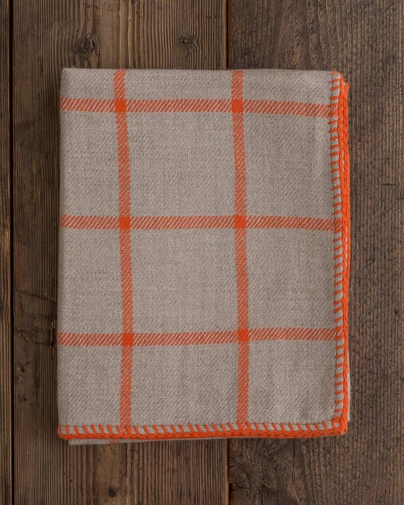 Graydon Alpaca Throw in Light Taupe and Orange by Alicia Adams