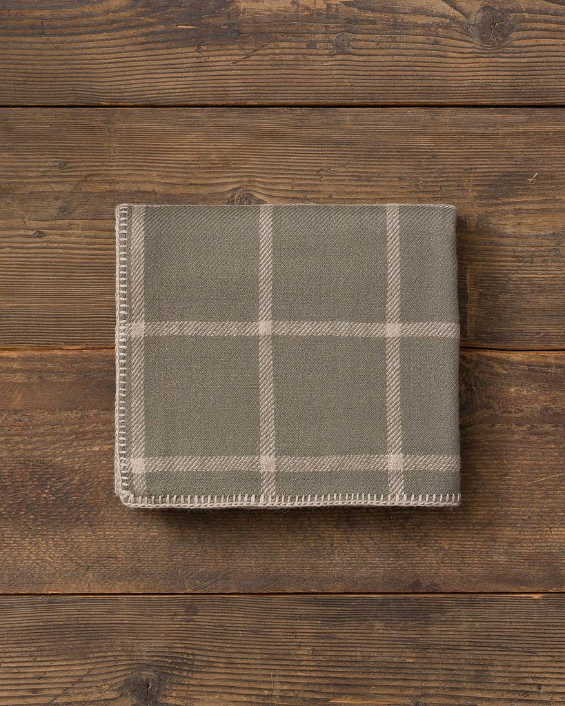Graydon Alpaca Throw in Moss and Light Taupe by Alicia Adams