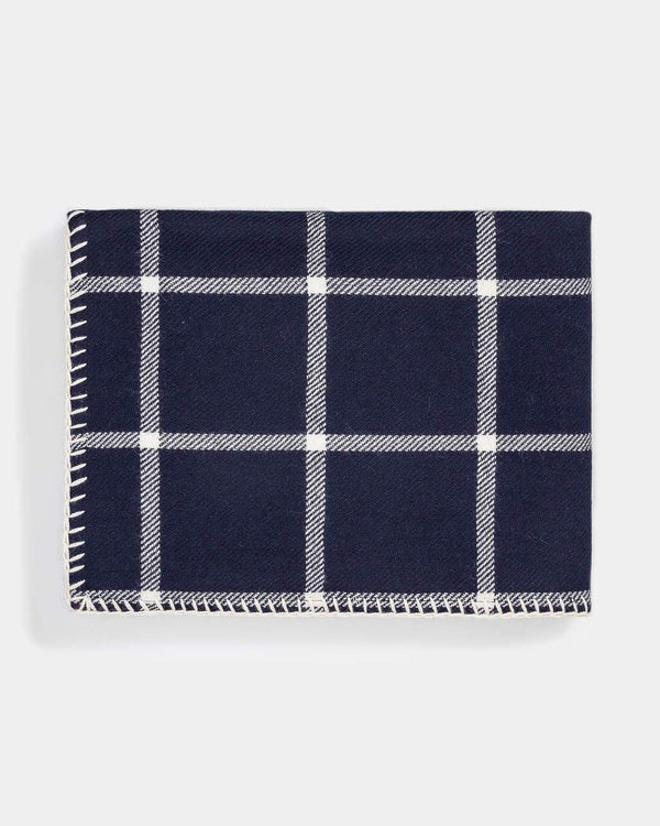 Fig Linens - Graydon Alpaca Throw in Navy and Ivory by Alicia Adams Alpaca