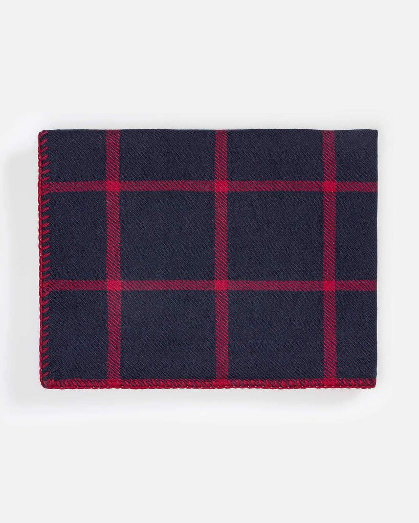 Graydon Alpaca Throw in Navy and Scarlet by Alicia Adams - Fig Linens