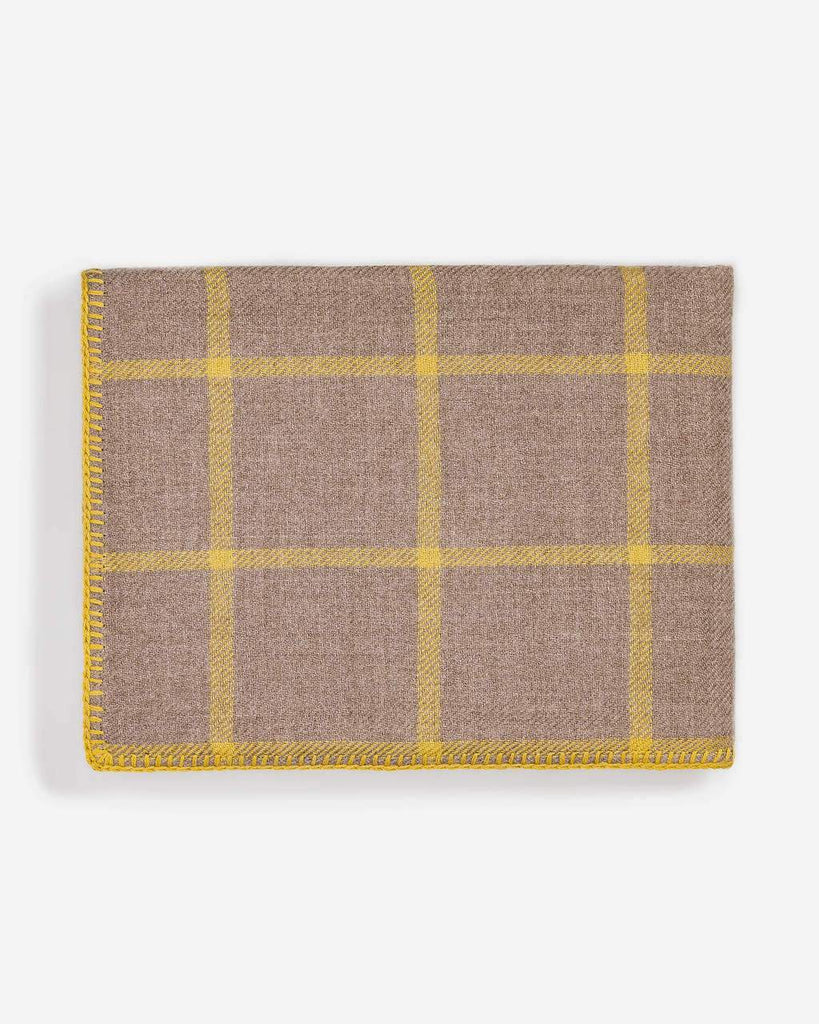 Graydon Alpaca Throw in Taupe and French Yellow by Alicia Adams