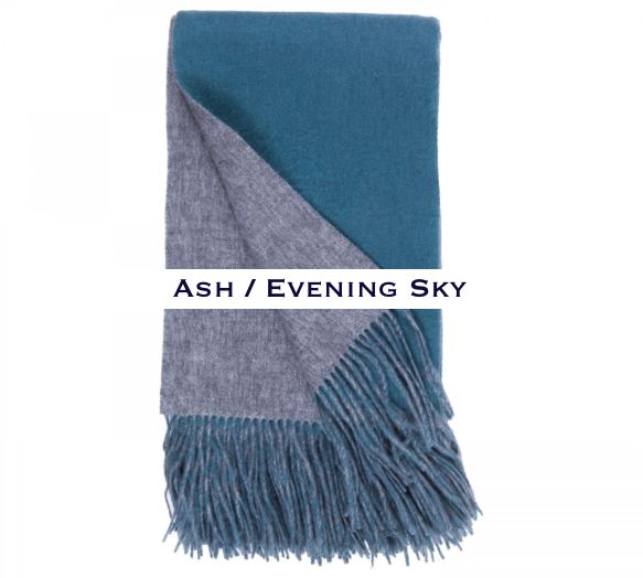 100% Cashmere Double Faced Throw by Alashan ash / evening sky