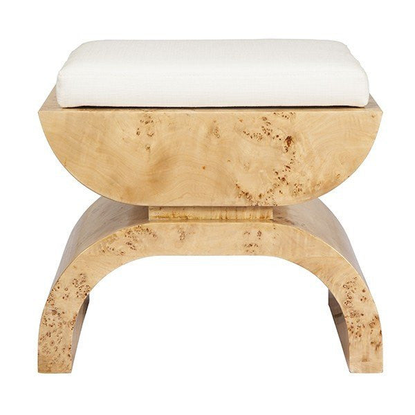 biggs burlwood stool - worlds away - fig linens - front angle