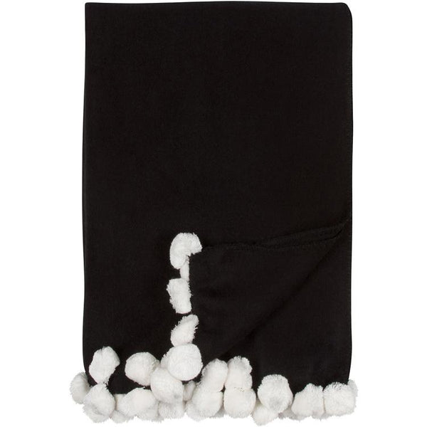 Luxxe Pom Pom Throw in Black and Ivory by Malibu Luxxe