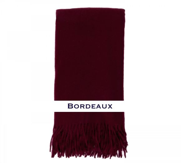 100% Cashmere Plain Weave Throw by Alashan bordeaux