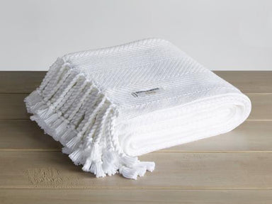 Monhegan White Herringbone Throw by Brahms Mount | Fig Linens