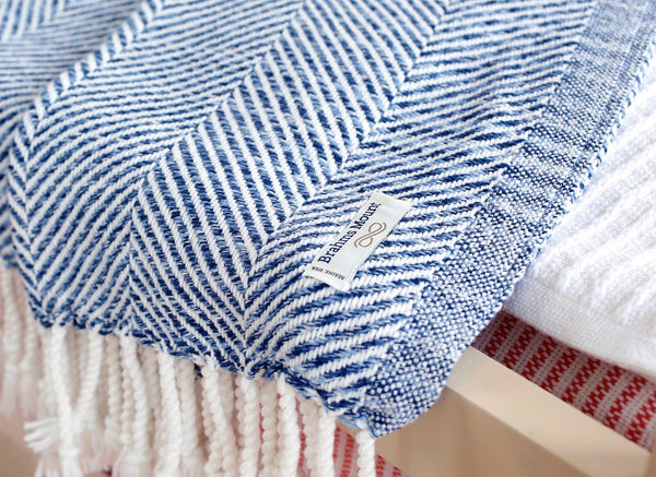 Fig Linens - Newfield Indigo Twist Throw by Brhams Mount