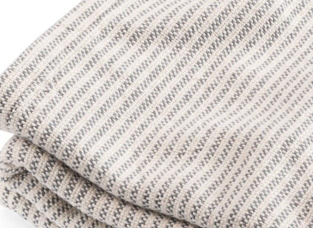 Slate Winslow Ticking Stripe Cotton Blanket by Brahms Mount | Fig Linens