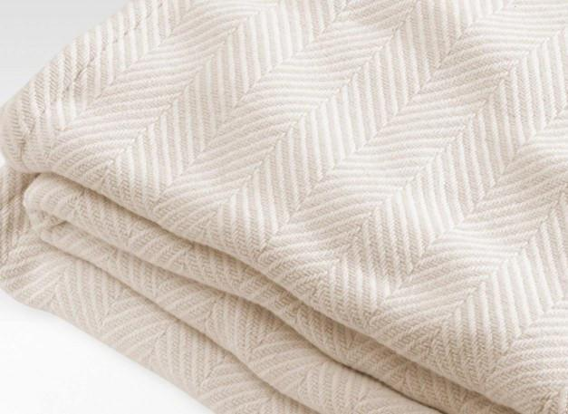 Madison Chevron Natural Cotton Blanket by Brahms Mount | Fig Linens
