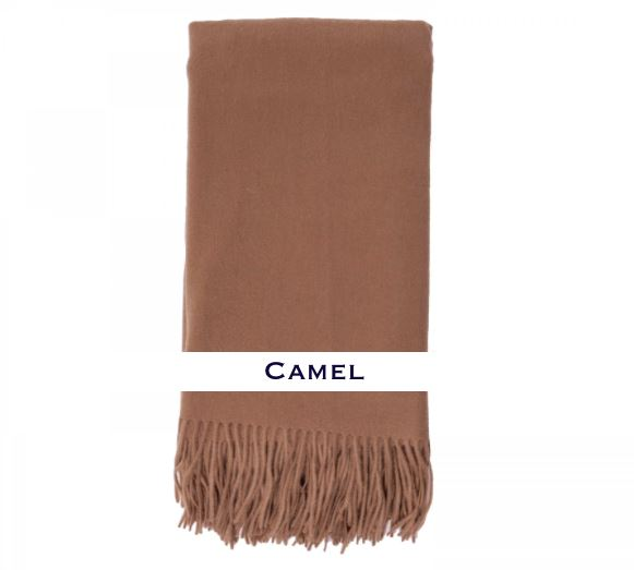 100% Cashmere Plain Weave Throw by Alashan camel