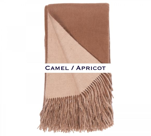 100% Cashmere Double Faced Throw by Alashan camel / apricot