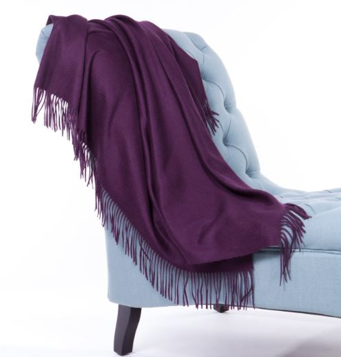 100% Cashmere Plain Weave Throw by Alashan