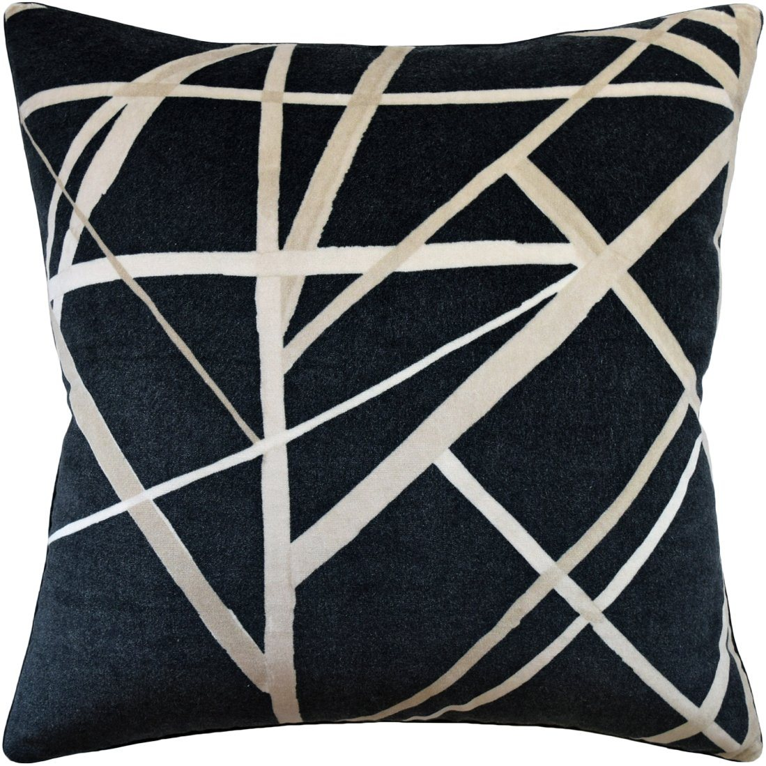 Channels Velvet Ebony and Almond Pillow - Fig Linens