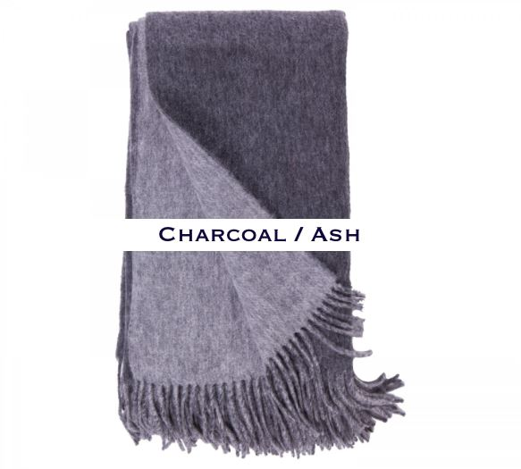 100% Cashmere Double Faced Throw by Alashan charcoal / ash
