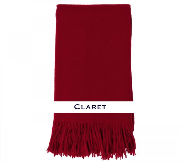 100% Cashmere Plain Weave Throw by Alashan claret