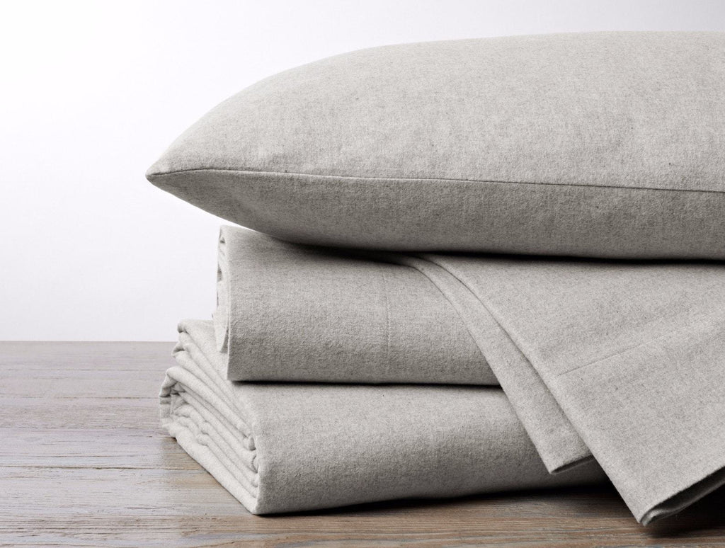 Fig Linens - Pale Gray Heather Cloud Brushed Organic Flannel Sheet Sets by Coyuchi
