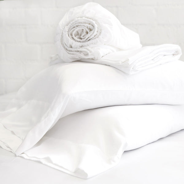 Pom Pom at Home White Cotton Sateen Sheet Set | Fig Linens