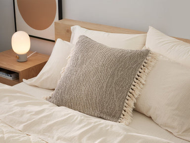 Fig Linens - Abbott Walnut Organic Pillow Cover by Coyuchi - Lifestyle