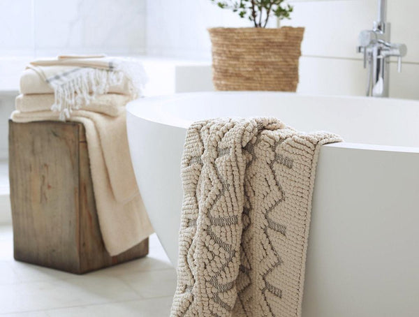Mosaic Canyon Undyed Organic Bath Rugs by Coyuchi | Fig Linens