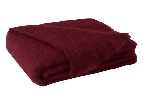 Brushed Mohair Throw Cranberry by Lands Downunder