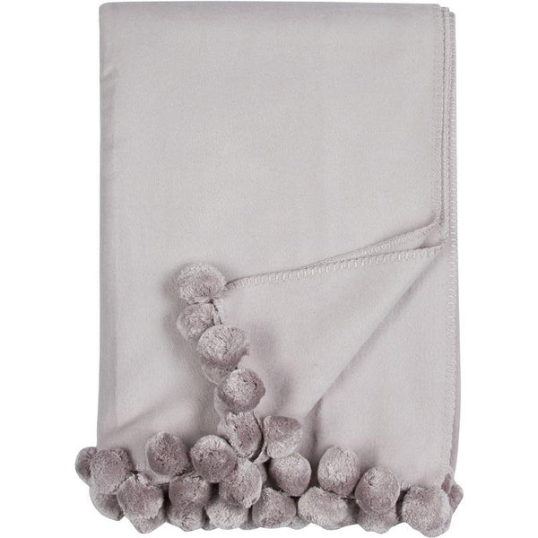 Luxxe Pom Pom Throw in Dove Grey by Malibu Luxxe