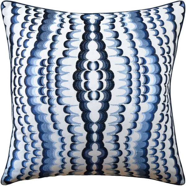 ebru embroidery blue pillow - ryan studio - fig linens