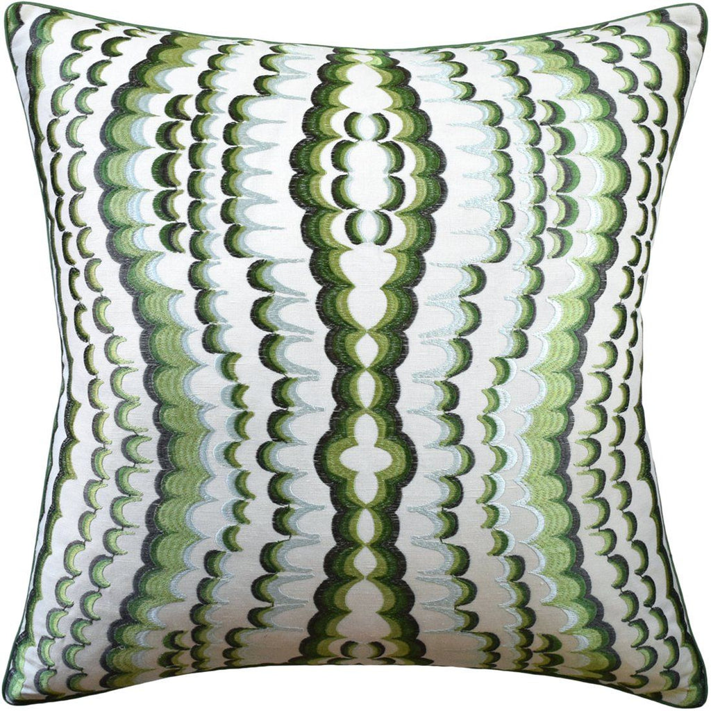 ebru embroidery green pillow - ryan studio - fig linens