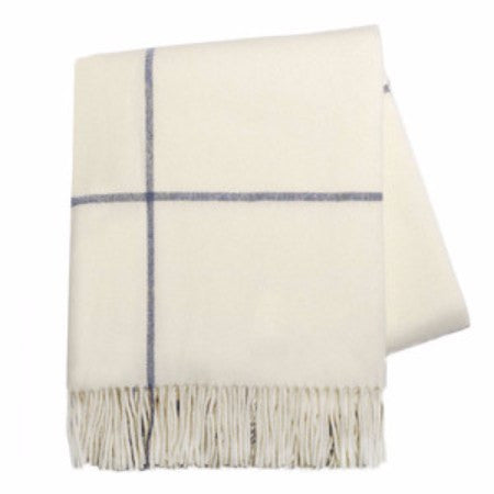Ecru & Navy Windowpane Cashmere Throw by Lands Downunder