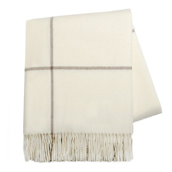 Ecru & Taupe Windowpane Cashmere Throw by Lands Downunder