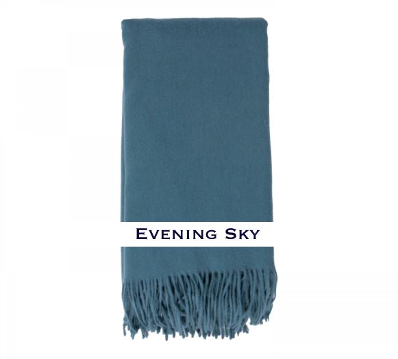 100% Cashmere Plain Weave Throw by Alashan evening sky