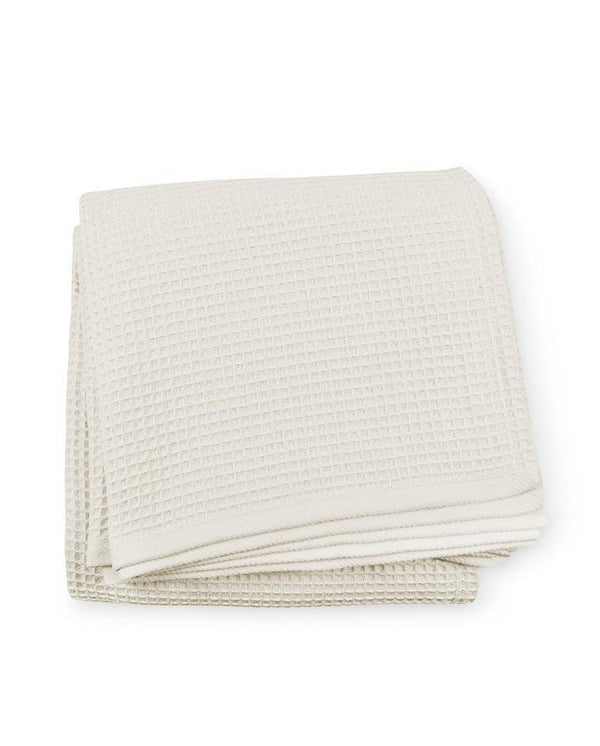 Fig Linens - Kingston Blanket by Sferra - Cotton Waffle Bed Blankets - Ivory blanket