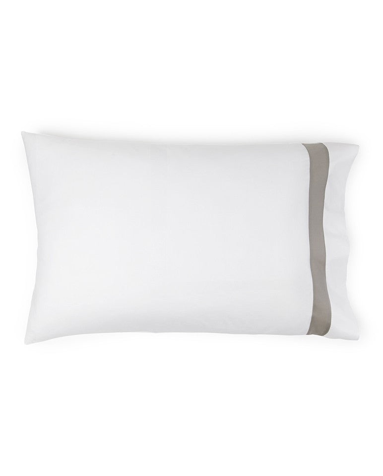 Fig Linens - Orlo Bedding by Sferra - White, gray pillowcase