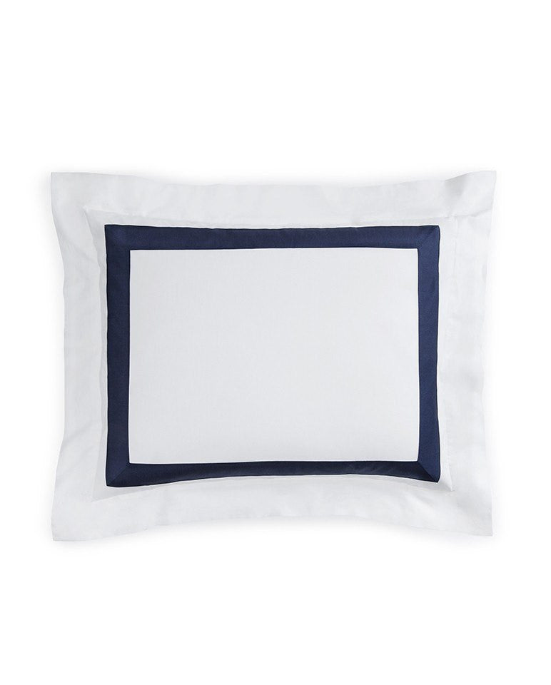 Fig Linens - Orlo Bedding by Sferra - White, navy sham