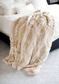 Fabulous Furs Blonde Mink Couture Faux Fur Throw Blanket