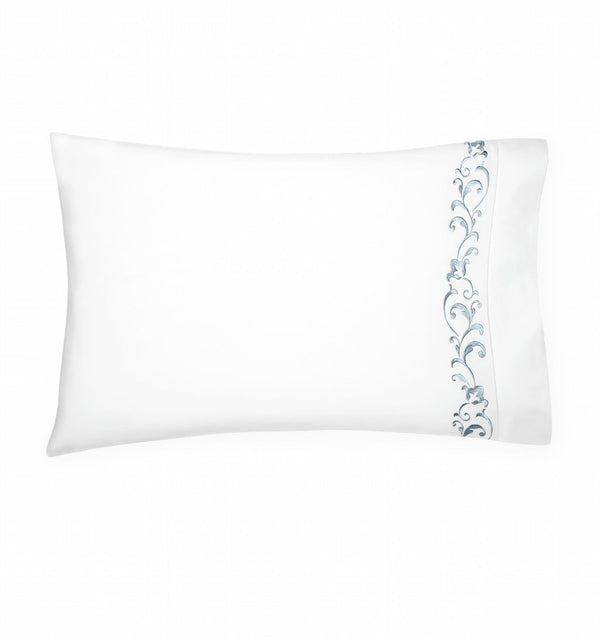 Fig Linens - Griante White and Storm Pillowcase by Sferra