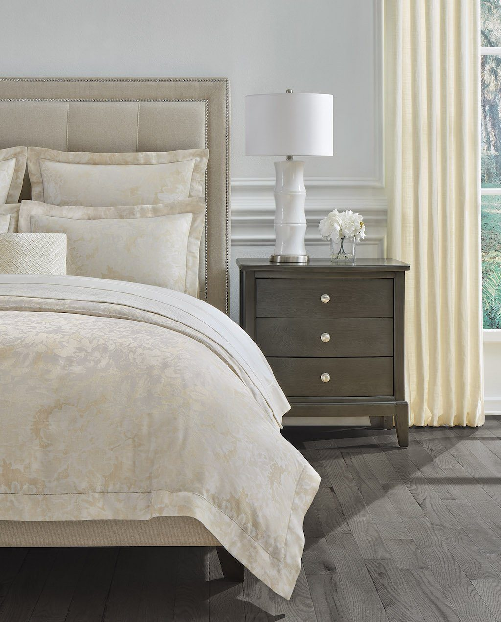 Fig Linens - Sferra Bedding - Petalo Gold Duvet and Shams