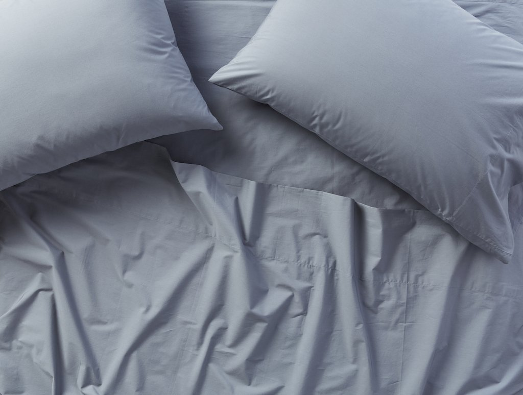 Fig Linens - Steel Blue 300 TC Organic Percale Bedding by Coyuchi