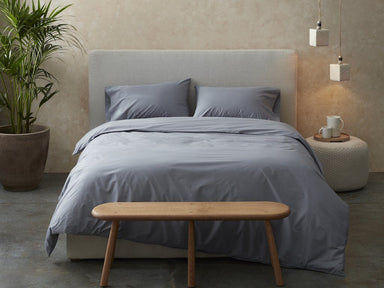 Fig Linens - Coyuchi 300 TC Steel Blue Organic Percale Bedding