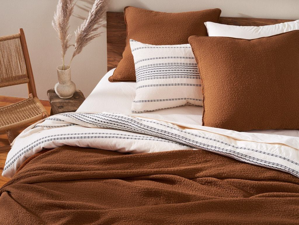 Cascade Rust Organic Matelasse Blanket and Shams by Coyuchi | Fig Linens