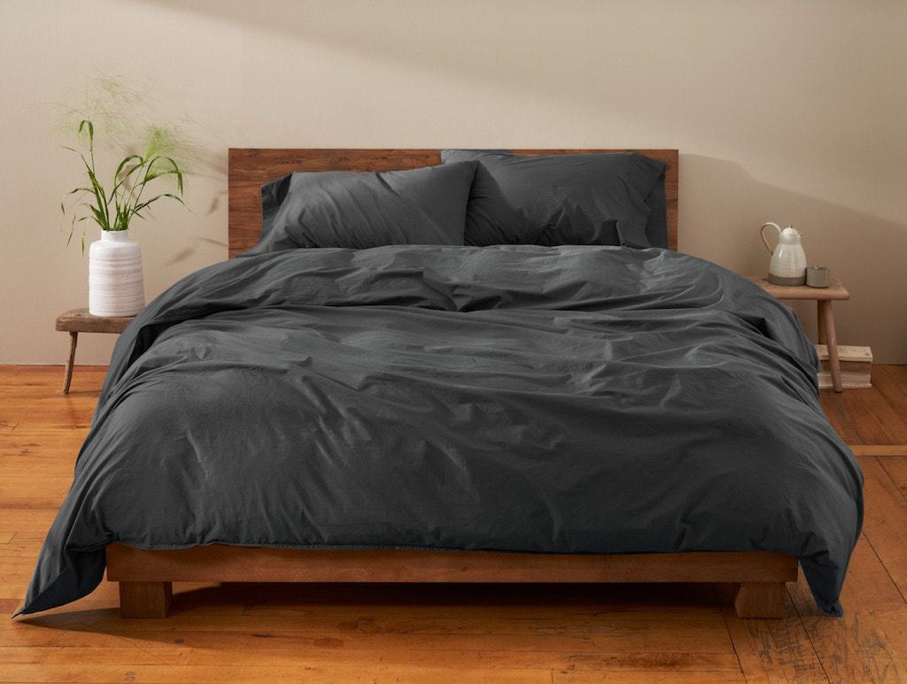 Shadow Organic Crinkled Percale Duvet Cover by Coyuchi