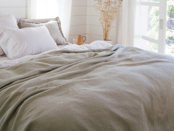 Fig Linens - Laurel Honeycomb Organic Blanket by Coyuchi - 100% Cotton