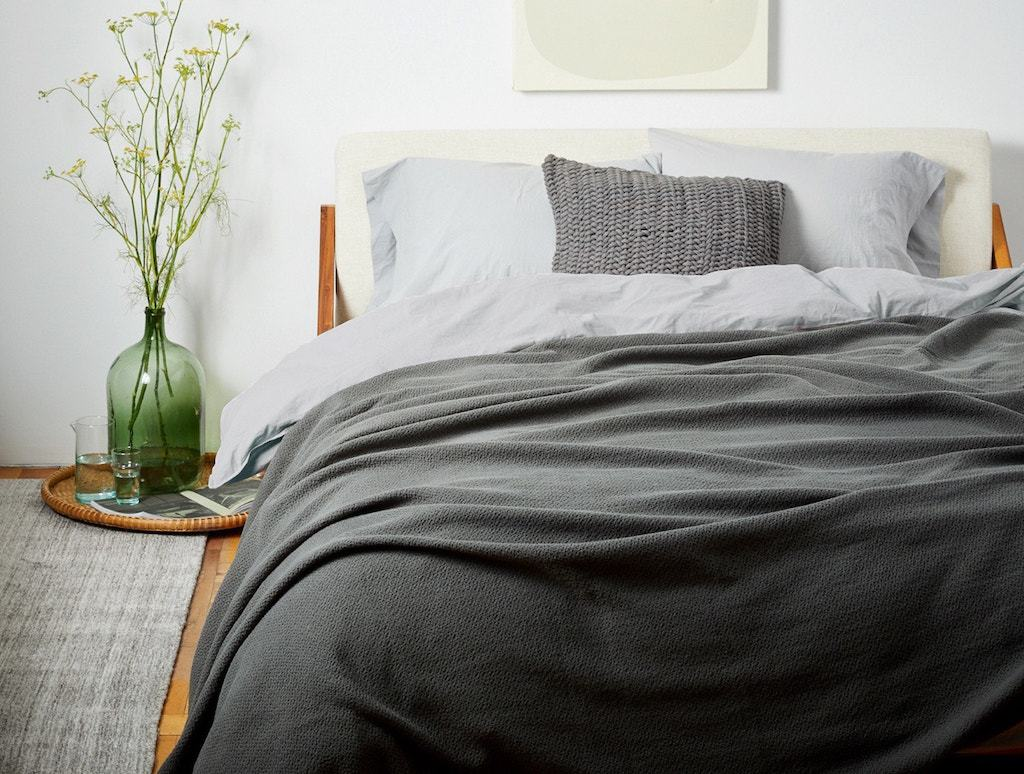 Fig Linens - Shadow Honeycomb Organic Blanket by Coyuchi - Lifestyle