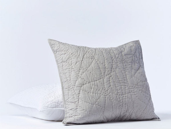 Manzanita Pewter Organic Quilted Sham by Coyuchi | Fig Linens and Home